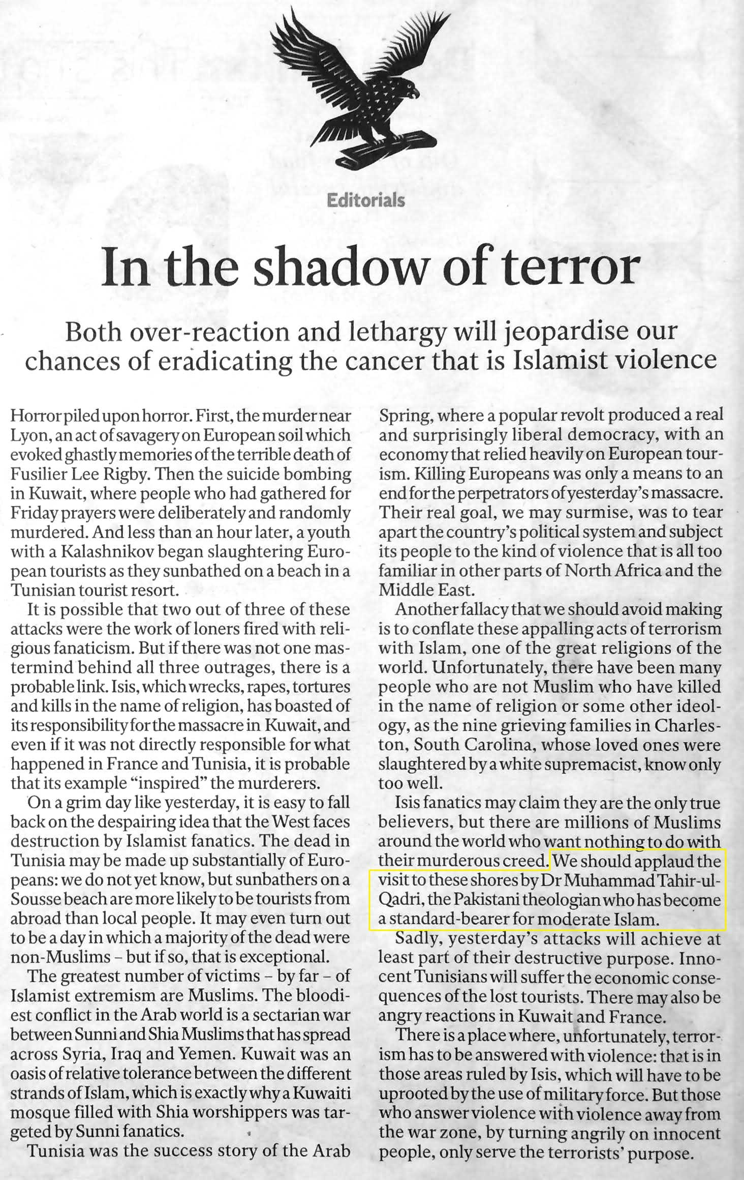 Pakistan Awami Tehreek  Print Media Coverage The Independent Editorial Page