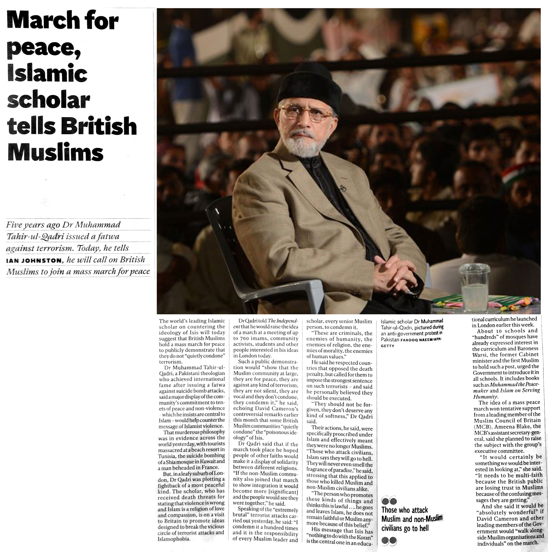 Pakistan Awami Tehreek  Print Media Coverage The Independent - Page 20